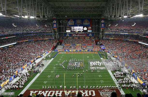 A general view of the field as the Oklahoma Sooners marching band plays before the Tostito's Fiesta Bowl between the Sooners and the Boise State...