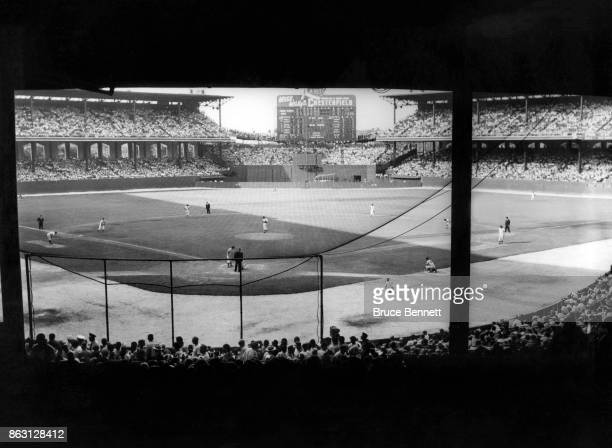 General view of the field during an MLB game with the New York Yankees and Chicago White Sox on July 19 1953 at Comiskey Park in Chicago Illinois