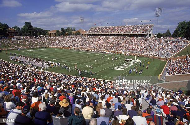 General view of the field during the ACC football game between the Wake Forest Demon Deacons and the Virginia Cavaliers at Scott Stadium in...