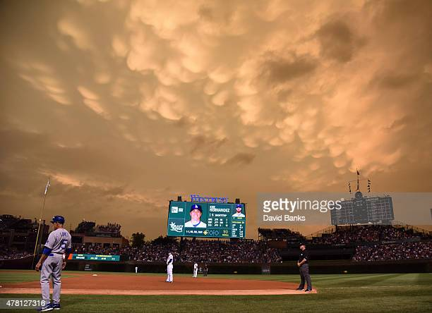A general view of the field during the fifth inning of a game between the Chicago Cubs and the Los Angeles Dodgers on June 22 2015 at Wrigley Field...