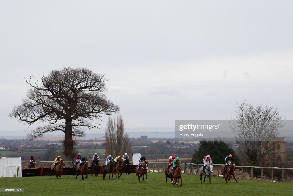 A general view of the field during the Ladies Day 24th April Maiden Hurdle race at Taunton Racecourse on February 7, 2013 in Taunton, England.