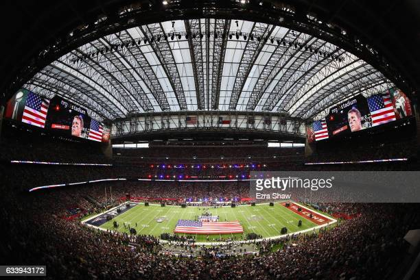 A general view of the field during the National Anthem prior to Super Bowl 51 between the New England Patriots and the Atlanta Falcons at NRG Stadium...