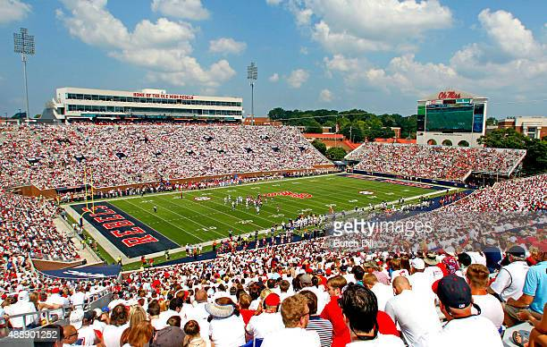 A general view of the field during the NCAA football game between the Mississippi Rebels and the Tennessee Martin Skyhawks in the second quarter at...