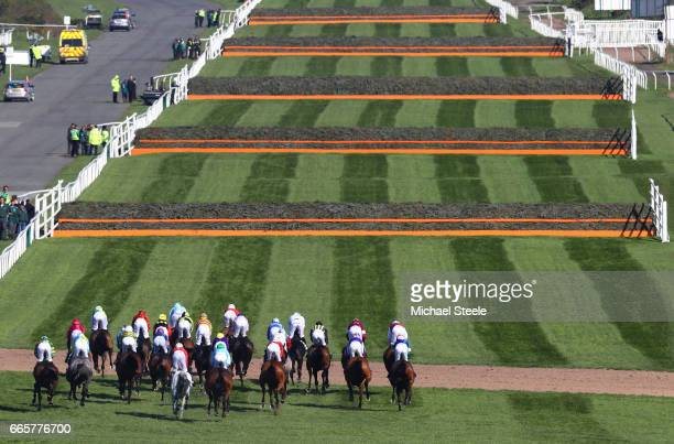 A general view of the field during the Randox Health Topham Handicap Chase on Ladies Day at Aintree Racecourse on April 7 2017 in Liverpool England