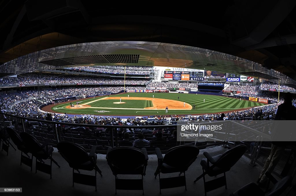 A general view of the field from the back of the first concouse along the firstbase line as designatedhitter Travis Hafner of the Cleveland Indians...