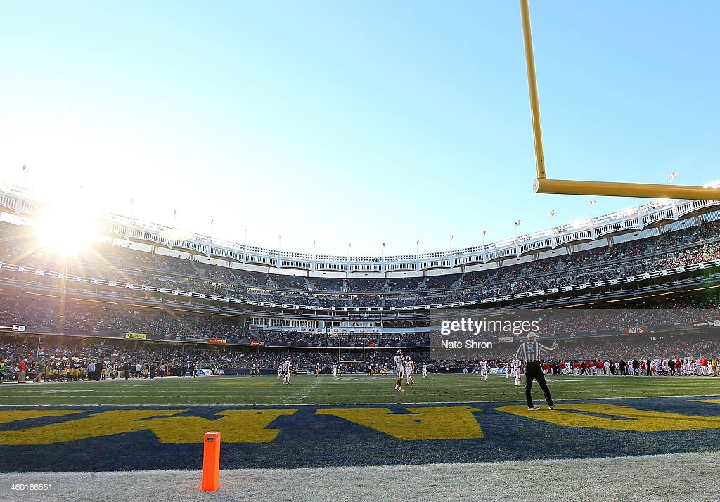 A general view of the field from the endzone during the game between the Notre Dame Fighting Irish and the Rutgers Scarlet Knights at the New Era Pinstripe Bowl at Yankee Stadium on December 28, 2013 in the Bronx Borough of New York City.