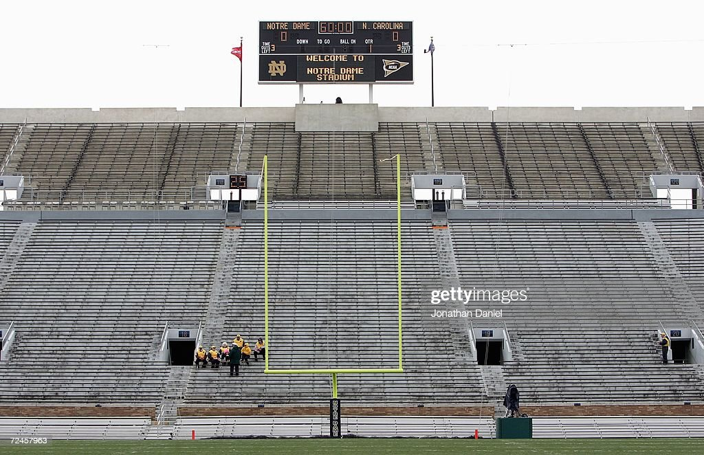 A general view of the field goal taken before the game between the Notre Dame Fighting Irish and the North Carolina Tar Heels on November 4 2006 at...