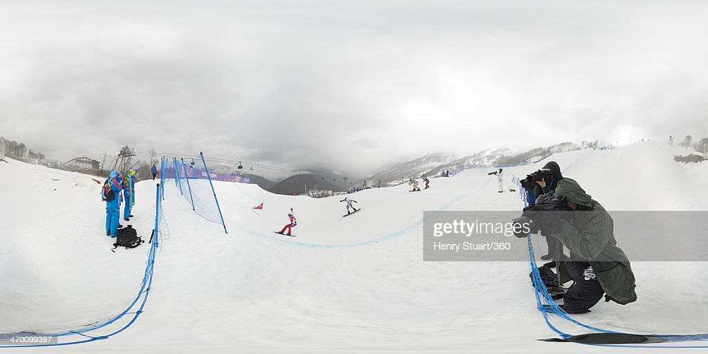 A general view of the field in the Men's Snowboard Cross Final on day eleven of the 2014 Winter Olympics at Rosa Khutor Extreme Park on February 18, 2014 in Sochi, Russia.