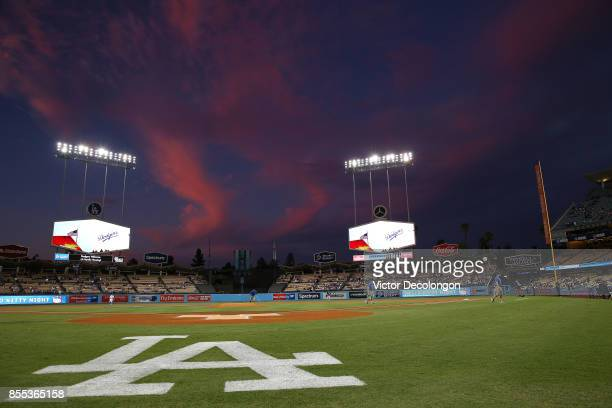A general view of the field is seen in the evening prior to the MLB game between the San Diego Padres and the Los Angeles Dodgers at Dodger Stadium...