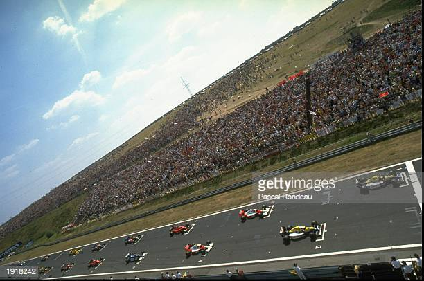 General view of the field lined up on the grid before the start of the Hungarian Grand Prix at the Hungaroring circuit in Budapest Hungary Mandatory...