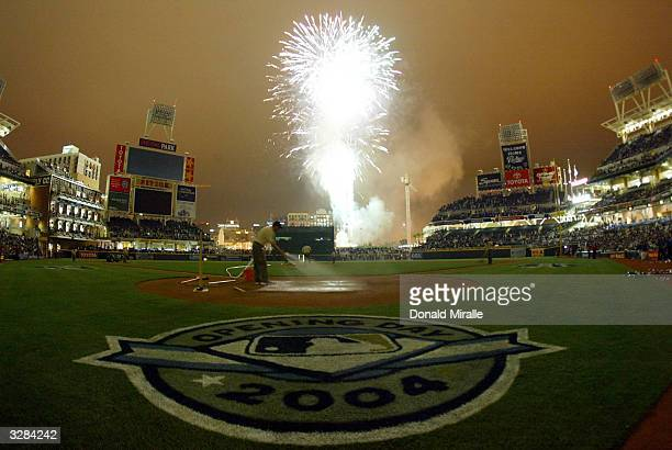 A general view of the field of play after the San Diego Padres' 10th inning win against the San Francisco Giants during Opening Game Day at Petco...