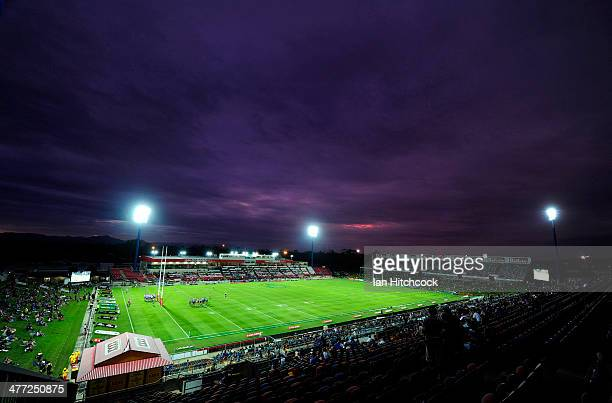 A general view of the field of play before the start of the round one NRL match between the North Queensland Cowboys and the Canberra Raiders at...