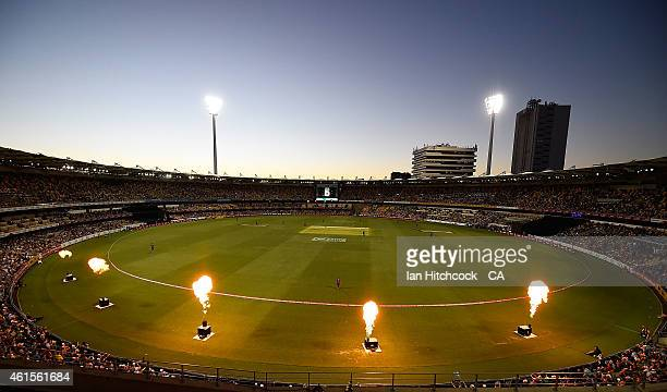 A general view of the field of play during the Big Bash League match between the Brisbane Heat and Hobart Hurricanes at The Gabba on January 15 2015...