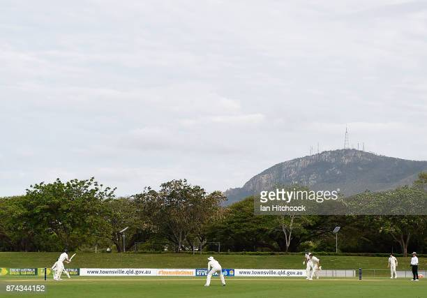 A general view of the field of play during the four day tour match between Cricket Australia XI and England at Tony Ireland Stadium on November 15...