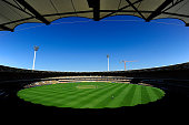 A general view of the field of play during the Matador BBQs One Day Cup match between Victoria and South Australia at The Gabba on October 6 2014 in...