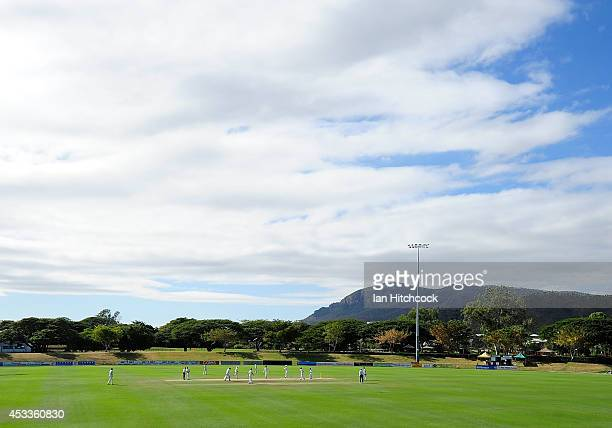 A general view of the field of play during the match between Australia 'A' and South Africa 'A' at Tony Ireland Stadium on August 9 2014 in...