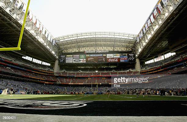 A general view of the field prior to the start of Super Bowl XXXVIII between the New England Patriots and the Carolina Panthers at Reliant Stadium on...