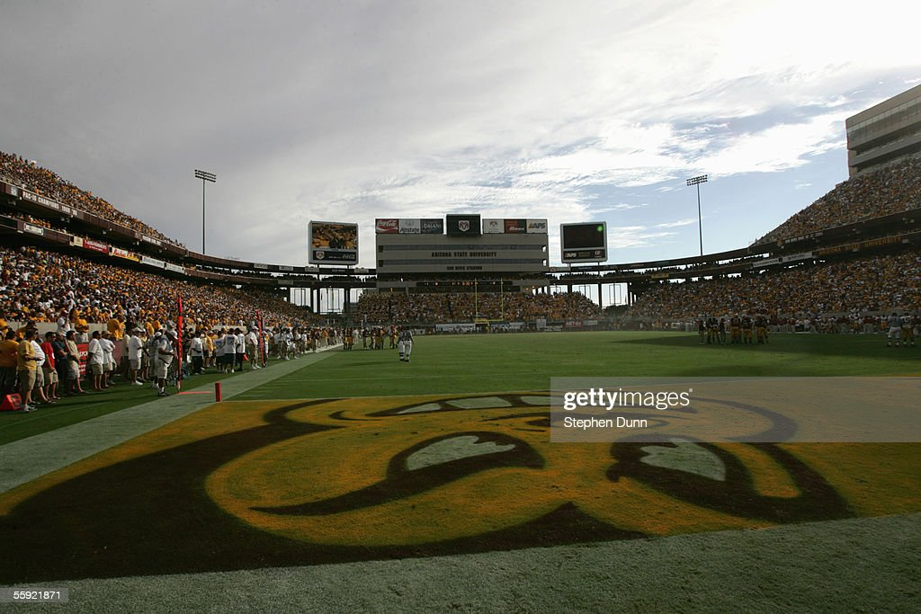 A general view of the field taken during the game between the Arizona State Sun Devils and the USC Trojans on October 1 2005 at Sun Devil Stadium in...