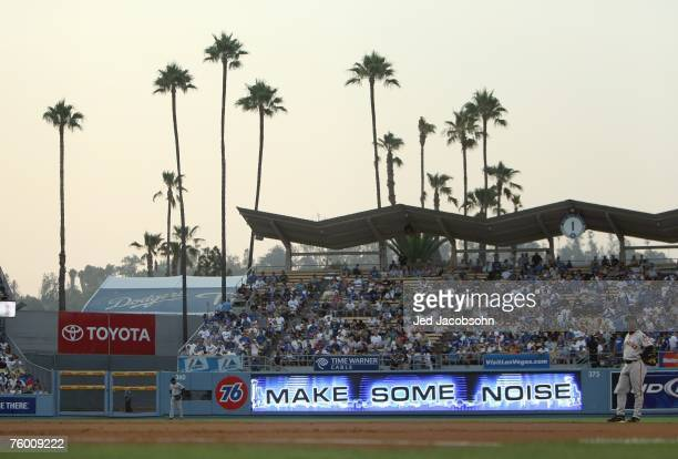 A general view of the field taken during the game between the San Francisco Giants and the Los Angeles Dodgers at Dodger Stadium on July 31 2007 in...