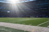 A general view of the field turf from a field level angle during the game between the New York Giants and the Jacksonville Jaguars on November 28...