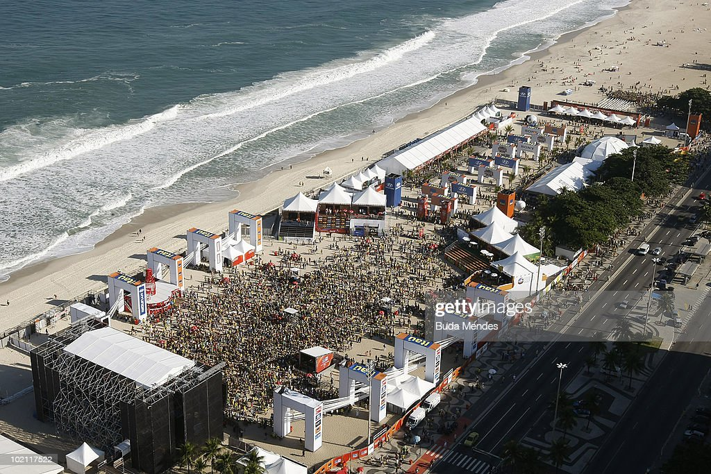 General view of the FIFA Fan Fest as Brazilian supporters gather to watch the National soccer team's opening match at the 2010 FIFA World Cup South Africa against North Korea in Copacabana Beach on June 15, 2010 in Rio de Janeiro, Brazil.