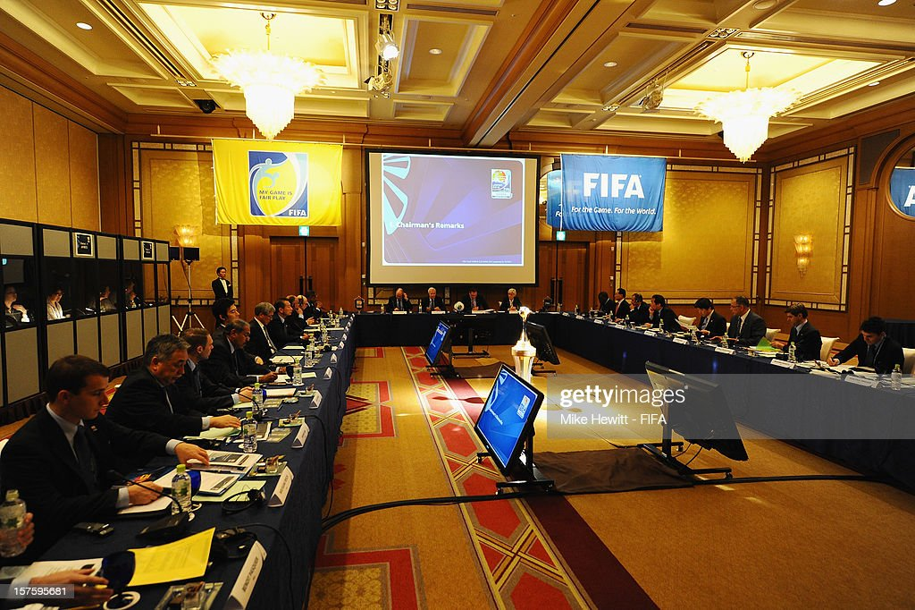 General view of the FIFA Organising Committee meeting ahead of the FIFA Club World Cup at the Ritz Carlton hotel on December 5, 2012 in Tokyo, Japan.