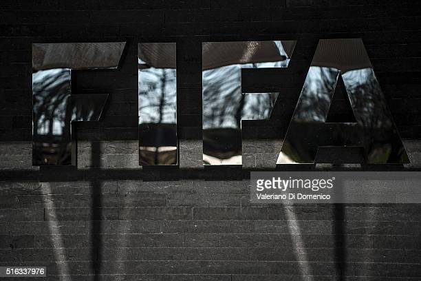 A general view of the FIFA sign at the headquarters during a press conference after the FIFA executive committee meeting at the FIFA headquarters on...