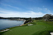 A general view of the fifth hole prior to the start of the ATT Pebble Beach National ProAm at the Pebble Beach Golf Links on February 11 2015 in...