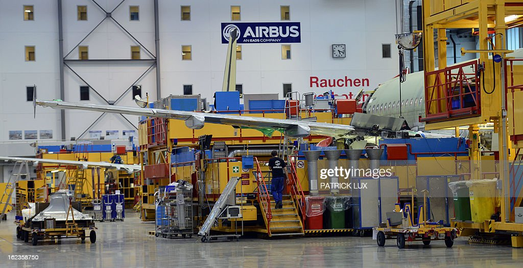 General view of the final assembly line of the Airbus A320 airplane at a production hall of Airbus on February 22, 2013 in Hamburg. AFP PHOTO / PATRICK LUX