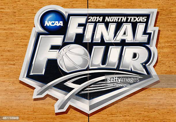 A general view of the Final Four logo at center court before the team's practice ahead of the 2014 NCAA Men's Final Four at ATT Stadium on April 4...