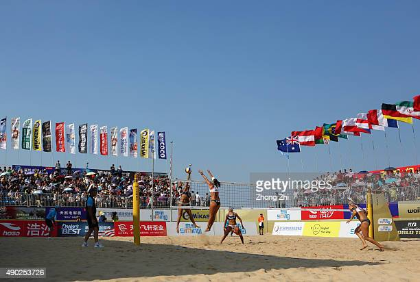 A general view of the final match between Ana Gallay and Georgina Klug of Argentina and Nadine Zumkehr and Joana Heidrich of Switzerland on day 6 at...