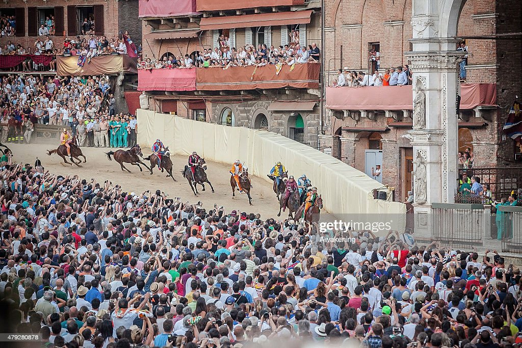 A general view of the final phases of today Palio of S Provenzano on July 2 2015 in Siena Italy The Palio is the most famous event in Siena and is a...