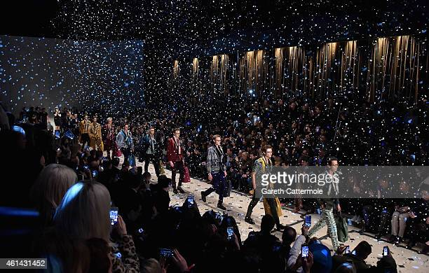 A general view of the finale at the Burberry Prorsum AW15 London Collections Men at Kensington Gardens on January 12 2015 in London England