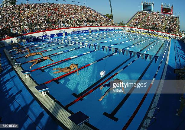 A general view of the finals during the US Olympic Swimming Team Trials on July 9 2004 at the Long Beach Swim Stadium in Long Beach California