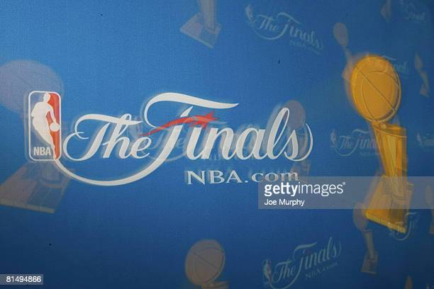A general view of the finals logo prior to Game Two of the 2008 NBA Finals on June 8 2008 at TD Banknorth Garden in Boston Massachusetts NOTE TO...