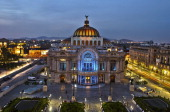 General view of the Fine Arts Palace with its entrance illuminated still in blue for Autism Awareness in Mexico city on April 09 2013 AFP PHOTO/OMAR...
