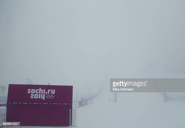 General view of the finish line at Stadium PSX as competition is delayed due to weather conditions ahead of the Men's Snowboard Cross Seeding on day...
