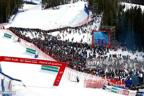 A general view of the finish of the Men's Downhill in Red Tail Stadium on Day 6 of the 2015 FIS Alpine World Ski Championships on February 7 2015 in...