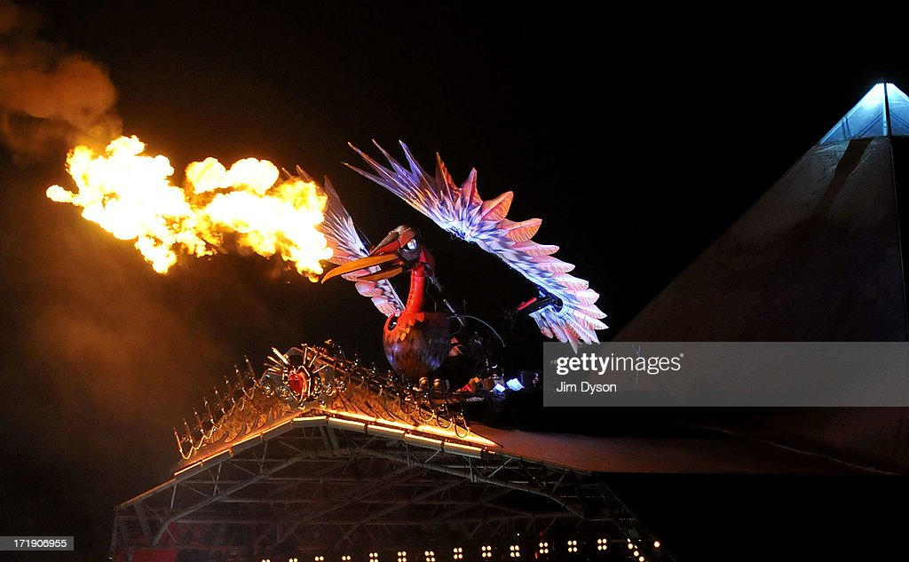 A general view of the fire breathing phoenix as the Rolling Stones perform on the Pyramid stage during day 3 of the 2013 Glastonbury Festival at Worthy Farm on June 29, 2013 in Glastonbury, England.