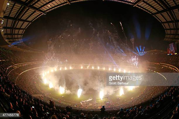 A general view of the fireworks during game two of the State of Origin series between the New South Wales Blues and the Queensland Maroons at the...