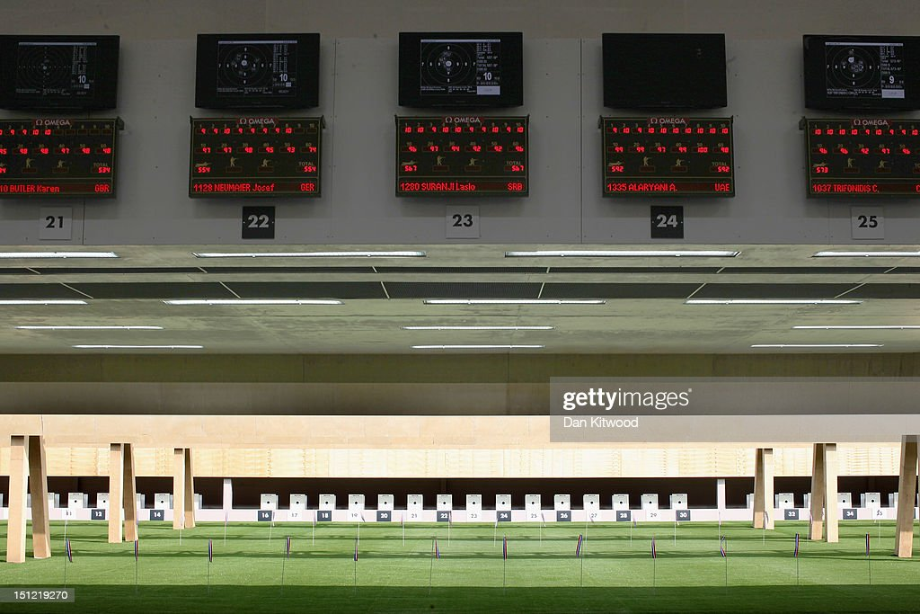 A general view of the firing range as competitors take part in the mixed R6-50m Rifle Prone- SH1 qualification round on day 6 of the London 2012 Paralympic Games at The Royal Artillery Barracks on September 4, 2012 in London, England.