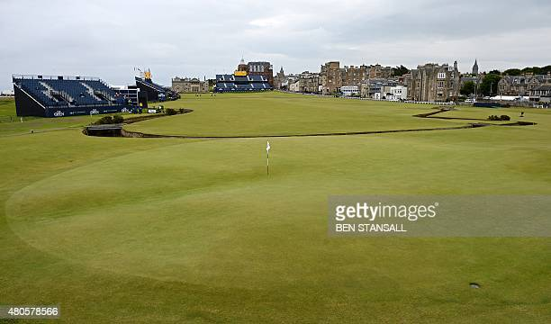 A general view of the first green is pictured during a practice session on July 13 ahead of the 2015 British Open Golf Championship at the Old Course...