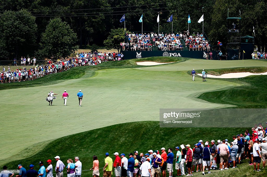 A general view of the first hole is seen during a practice round prior to the start of the 96th PGA Championship at Valhalla Golf Club on August 6...