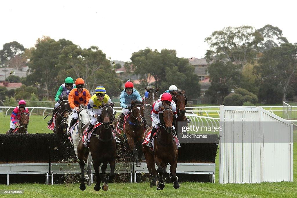 A general view of the first lap in Race 4, The Australian Steeplechase during Melbourne Racing at Sandown Lakeside on May 28, 2016 in Melbourne, Australia.