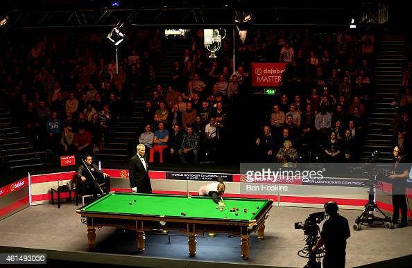 A general view of the first round match between Barry Hawkins of England and Ali Carter of England on day three of The Dafabet Masters at Alexandra...
