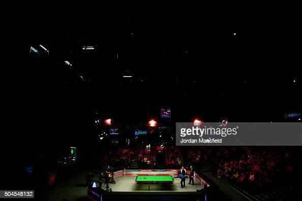A general view of the first round match between Judd Trump of England and Stephen Maguire of Scotland during Day Two of the Dafabet Masters at...