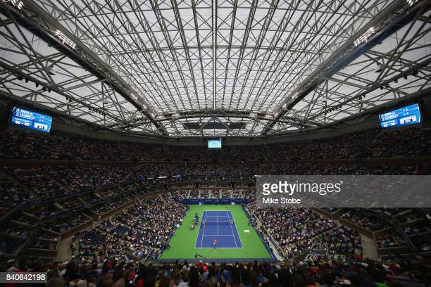 A general view of the first round Men's Singles match between Rafael Nadal of Spain and Dusan Lajovic of Serbia on Day Two during the 2017 US Open at...