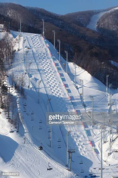 A general view of the FIS World Freestyle Cup 2016/2017 Moguls venue at Bokwang Snowpark on February 13 2017 in PyeongChanggun South Korea The venue...