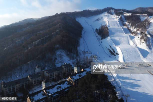 A general view of the FIS World Freestyle Cup 2016/2017 Parallel Giant Slalom venue at Bokwang Snowpark on February 13 2017 in PyeongChanggun South...