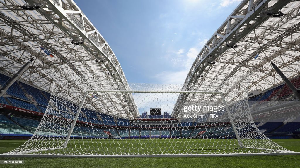 A general view of the Fisht Olympic stadium prior to a Germany press conference during the FIFA Confederations Cup Russia 2017 on June 18, 2017 in Sochi, Russia.
